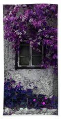 Orchid Vines Window And Gray Stone Hand Towel