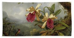 Orchids And Hummingbird Hand Towel