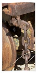 Hand Towel featuring the photograph Ore Car Chain by Phyllis Denton