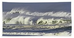 Oregon Coast Waves On A Windy Morning Bath Towel