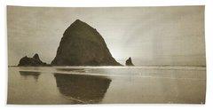 Oregon Haystack Rock Beach Rustic Landscape Bath Towel by Andrea Hazel Ihlefeld
