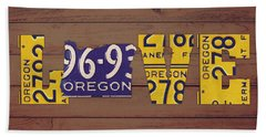 Oregon State Love Heart License Plates Art Phrase Hand Towel