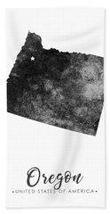 Oregon State Map Art - Grunge Silhouette Hand Towel