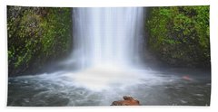 Bath Towel featuring the photograph Oregon Waterfall Rock Mountain Landscape by Andrea Hazel Ihlefeld
