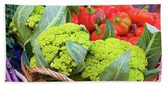 Organic Green Cauliflower At The Farmer's Market Hand Towel