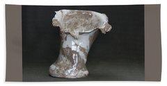 Organic Marbled Clay Ceramic Vase Bath Towel by Suzanne Gaff