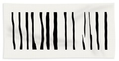 Organic No 12 Black And White Line Abstract Hand Towel