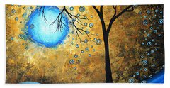 Orginal Abstract Landscape Painting Blue Fire By Madart Hand Towel