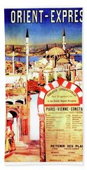 Orient Express, Istanbul, Vintage Travel Poster Bath Towel