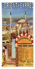 Orient Express, Railway, Vintage Travel Poster Bath Towel