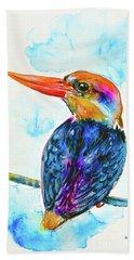 Hand Towel featuring the painting Oriental Dwarf Kingfisher by Zaira Dzhaubaeva