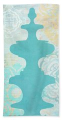 Oriental Far East Design Blue Bath Towel