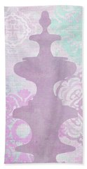 Oriental Far East Design Purple Hand Towel