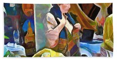 Bath Towel featuring the painting Oriental Merchant by Wayne Pascall
