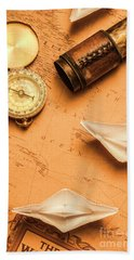 Origami Paper Boats On A Voyage Of Exploration Bath Towel