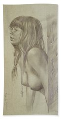 Original Artwork Drawing Female Nude Girl Women On Paper#16-6-29-01 Bath Towel