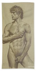 Original Artwork Drawing Sketch Male Nude Man On Brown Paper#16-6-16-03 Bath Towel