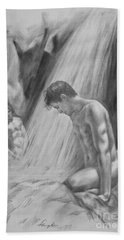 Original Charcoal Drawing Art Male Nude By Twaterfall On Paper #16-3-11-16 Hand Towel