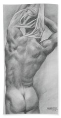 Original Charcoal Drawing Art Male Nude  On Paper #16-3-10-13 Bath Towel