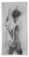 Original Charcoal Drawing Art Male Nude  On Paper #16-3-11-12 Hand Towel