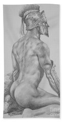 Original Charcoal Drawing Art Male Nude On Paper #16-3-11-26 Bath Towel