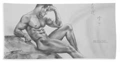 Original Charcoal Drawing Art Male Nude  On Paper #16-3-11-35 Bath Towel