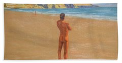 Original Classic Oil Painting Man Body Art Male Nude By The Sea-0017 Hand Towel