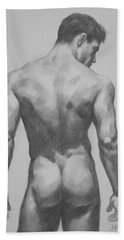 Original  Drawing Artwork Male Nude Men  On Paper #16-1-7 Bath Towel