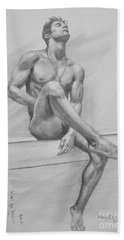 Original Drawing Charcoal Male Nude Boy Man On Paper #16-3-29-01 Bath Towel
