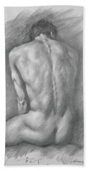 original Drawing male nude man #17325 Bath Towel