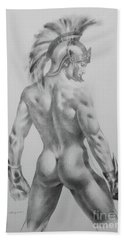 Original Drawing Sketch Charcoal Chalk Male Nude Gay Interst Man Art Pencil On Paper -0040 Bath Towel