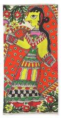 Original Madhubani Painting Indian Village Woman Portrait Watercolor Traditional Artwork. Hand Towel