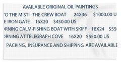 Hand Towel featuring the painting Original Oil Painting Availability List by Gary Giacomelli