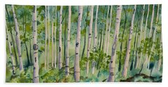 Original Watercolor - Summer Aspen Forest Hand Towel