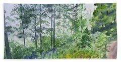Original Watercolor - Summer Pine Forest Bath Towel