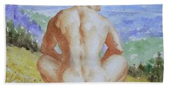 Original Watercolour Male Nude Men Outdoor On Paper#16-11-2 Bath Towel