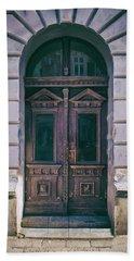 Ornamented Wooden Gate In Violet Tones Bath Towel by Jaroslaw Blaminsky