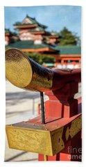 Ornate Details O Heian Jingu Shrine In Kyoto Hand Towel