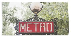 Ornate Paris Metro Sign Hand Towel by Ivy Ho