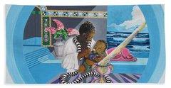 Blaa Kattproduksjoner             Osiris Feeding His Son Horus Bath Towel