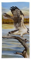 Bath Towel featuring the painting Osprey Landing by Phyllis Beiser