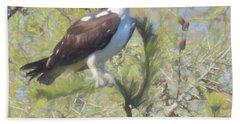 Osprey Perching In A Tree. Bath Towel