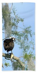 Osprey With A Fish Hand Towel by Chris Mercer
