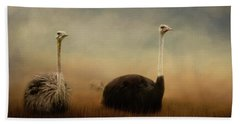 Ostrich Couple Hand Towel