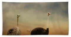 Ostrich Couple Hand Towel by Jai Johnson