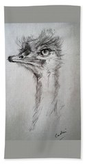 Hand Towel featuring the drawing Ostrich by Debora Cardaci