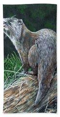 Otter On Branch Bath Towel