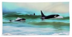 Our Family - Orca Whale Art Hand Towel