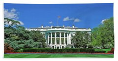 Bath Towel featuring the painting Our White House by Harry Warrick