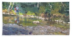 Out Fishing With Viola  Bath Towel